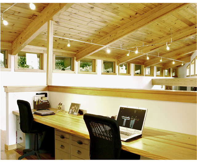 loft office with glue lam beams