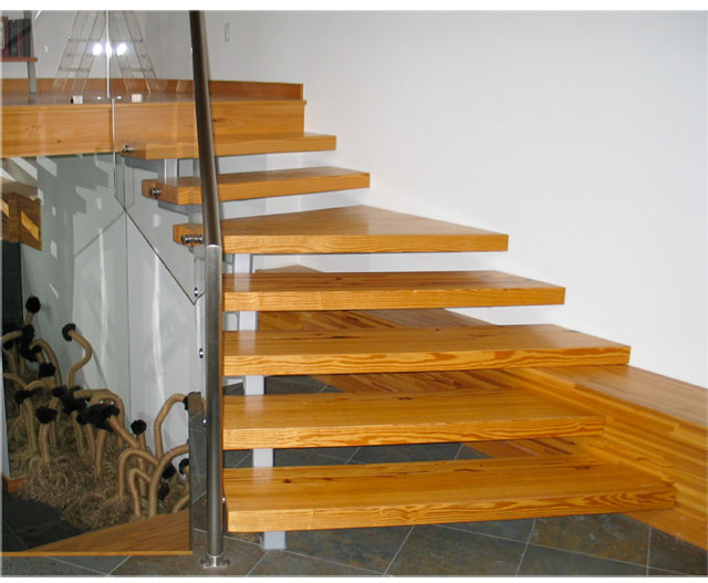 floating stair with glue lam beams