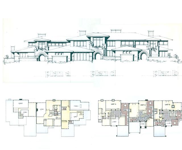 cluster homes plan & elevation
