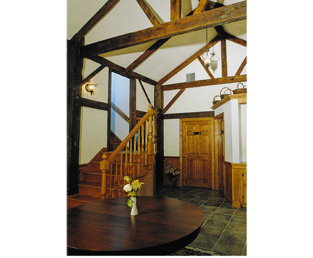 lobby- timber framing from original smoke house